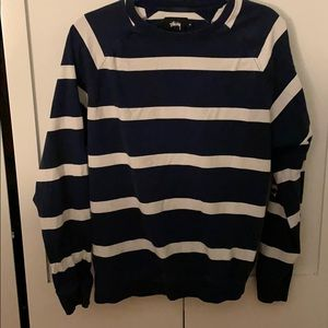 trendy stussy striped shirt with pink logo on side
